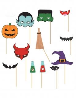 Halloween Photobooth-Set 12-teilig bunt