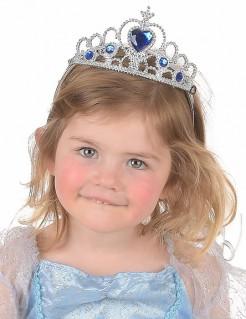 Prinzessinnen-Diadem mit Schmucksteinen Prinzessinnen-Haarreif für Kinder silber-blau