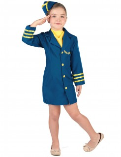Stewardess-Kinderkostüm Flugbegleiterin blau-gelb