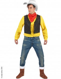Lucky Luke™-Lizenzkostüm Cowboy-Herrenkostüm gelb-schwarz-rot