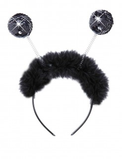 Haarreif mit Paillettenkugeln schwarz