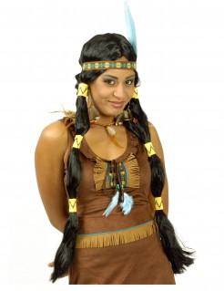 Squaw-Perücke Indianerinnen-Perücke mit Zöpfen und Haarschmuck schwarz