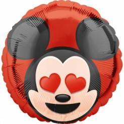 Micky Maus™ Emoji™ Aluminium Ballon rot-schwarz-beige 43cm