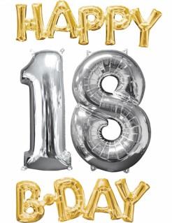 18. Geburtstag Aluminium Ballons Happy Birthday 4 Stück gold-silber
