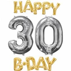 30. Geburtstag Aluminium Ballons Happy Birthday 4 Stück gold-silber