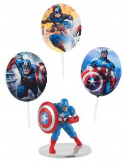 Captain America™-Kuchendeko Marvel-Lizenzartikel 4-teilig bunt