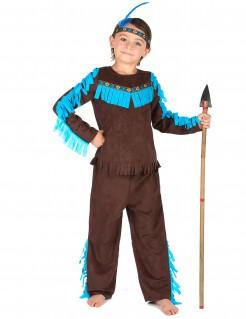 Mutiger Indianer Kinderkostüm braun-blau