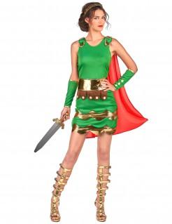 Römische Soldatin Gladiatorin-Damenkostüm grün-rot-gold