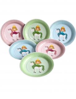 Einhorn-Prinzessin Partyteller Kindergeburtstag-Deko 6 Stück bunt 23 cm