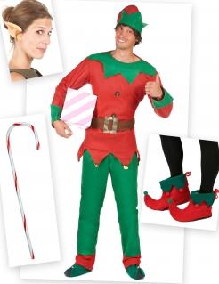 Weihnachtselfen-Kostümset für Herren 6-teilig rot-grün-goldfarben