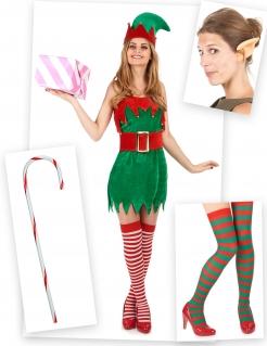 Elfen-Kostümset für Damen Weihnachtskostüm 6-teilig rot-grün