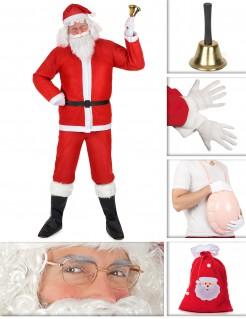 Nikolaus-Kostümset für Herren 10-teilig rot-weiss-schwarz