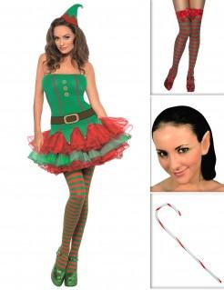 Weihnachtselfen-Kostümset für Damen 5-teilig grün-rot-braun