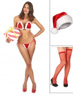 Weihnachts Zubehörset sexy für Damen 3-teilig rot-weiss