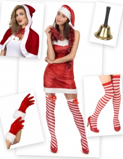 Sexy Weihnachtsfrau-Kostümset 6-teilig rot-weiss