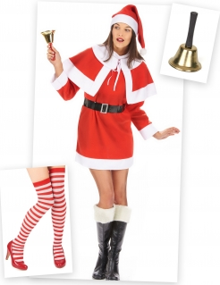 Weihnachtsfrau-Kostümset 6-teilig rot-weiss