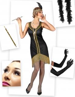 Stilvolles 20er-Kostümset für Damen 7-teilig schwarz-gold