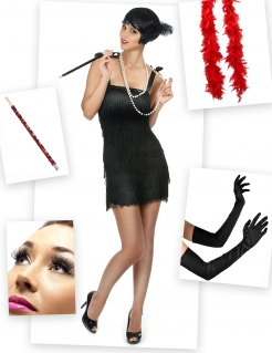 Sexy Charleston-Kostümset 7-teilig schwarz-rot