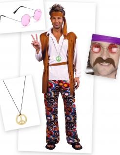 Hippie-Kostümset 7-teilig bunt