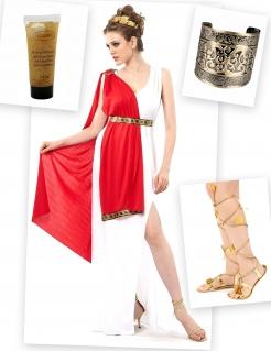 Römerin Kostüm-Set 8-teilig weiss-rot