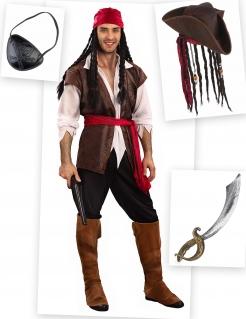 Pirat Kostüm-Set 9-teilig bunt