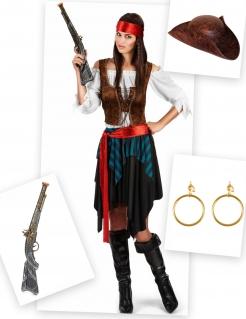 Piratin Kostüm-Set 9-teilig bunt