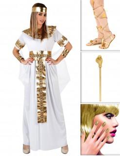 Ägyptische Königin Kostümset 10-teilig weiss-gold