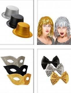 Party-Accessoires - 11-teilig - Schwarz-Gold-Silber