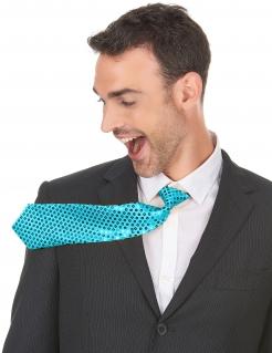 Pailletten-Krawatte für Herren Kostümzubehör blau