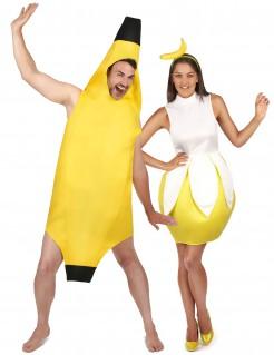 Bananen-Paarkostüm für Erwachsene Fasching gelb-braun