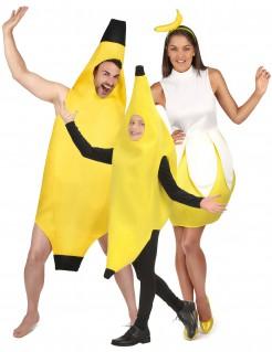 Bananen-Familienkostüm Karneval gelb-schwarz-weiss