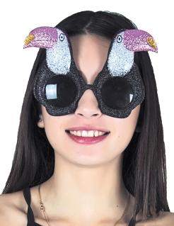 Tukan-Brille tropische Spassbrille Accessoire schwarz-weiss-rosa