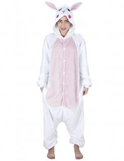 Kuschliger Hasen-Overall Tierkostüm weiss-rosa