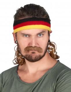 Vokuhila Stirnband in den deutschen Farben mit Schnurrbart braun