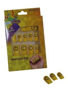 Falsche Nägel mit Friedenszeichen 24 Stück gelb-schwarz