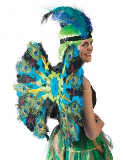 Pfauen-Flügel mit Federn Deluxe Accessoire blau-grün 60cm