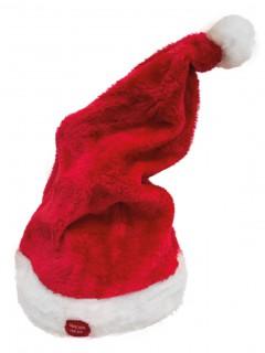 Weihnachtsmütze mit Musik und Bewegung Weihnachts-Accessoire rot-weiss