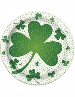 St. Patrick´s Day Pappteller 8 Stück grün-weiss 18cm