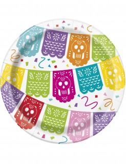 Pappteller Mexiko 8 Stück bunt 18 cm