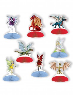 Mini-Drachen und Feen - Tisch-Dekoration - 8 Stück