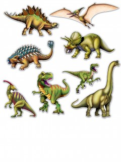 8 Dinosaurier-Figuren aus Pappe