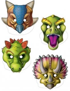 Dinosaurier-Pappmasken Kindergeburtstag-Masken 4 Stück bunt