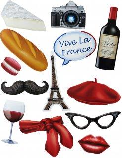 Frankreich Aufkleber-Set 13-teilig bunt