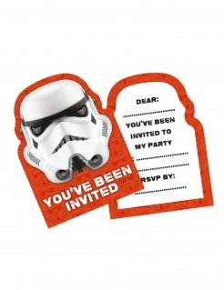 Einladungskarten Stormtrooper™ Star Wars™ 8 Stück orange weiss schwarz