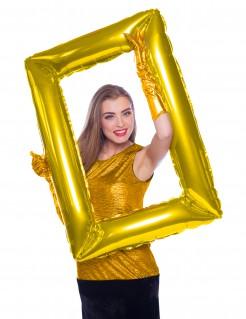 Bilderrahmen-Ballon Silvester-Deko gold 85x60cm