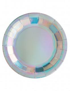 Pappteller Metallic Tischdekoration 10 Stück bunt 22,5 cm