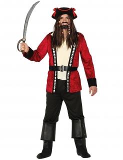Piratenkapitän-Kostüm für Herren Karneval rot-weiss-schwarz