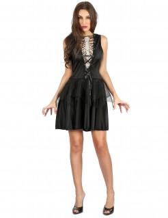 Sexy Skelettkleid Halloweenkostüm für Damen schwarz-weiss