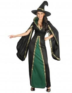Hexenkostüm mit weiten Ärmeln Zauberin-Kostüm schwarz-grün