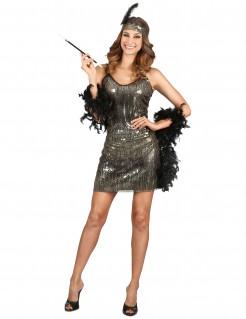 Sexy Charleston-Kleid Damenkostüm schwarz-silber